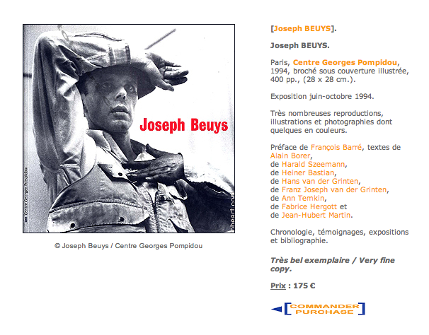 shannon : oudin : saint-loubert-bié : catalogue joseph beuys : centre georges pompidou 1994