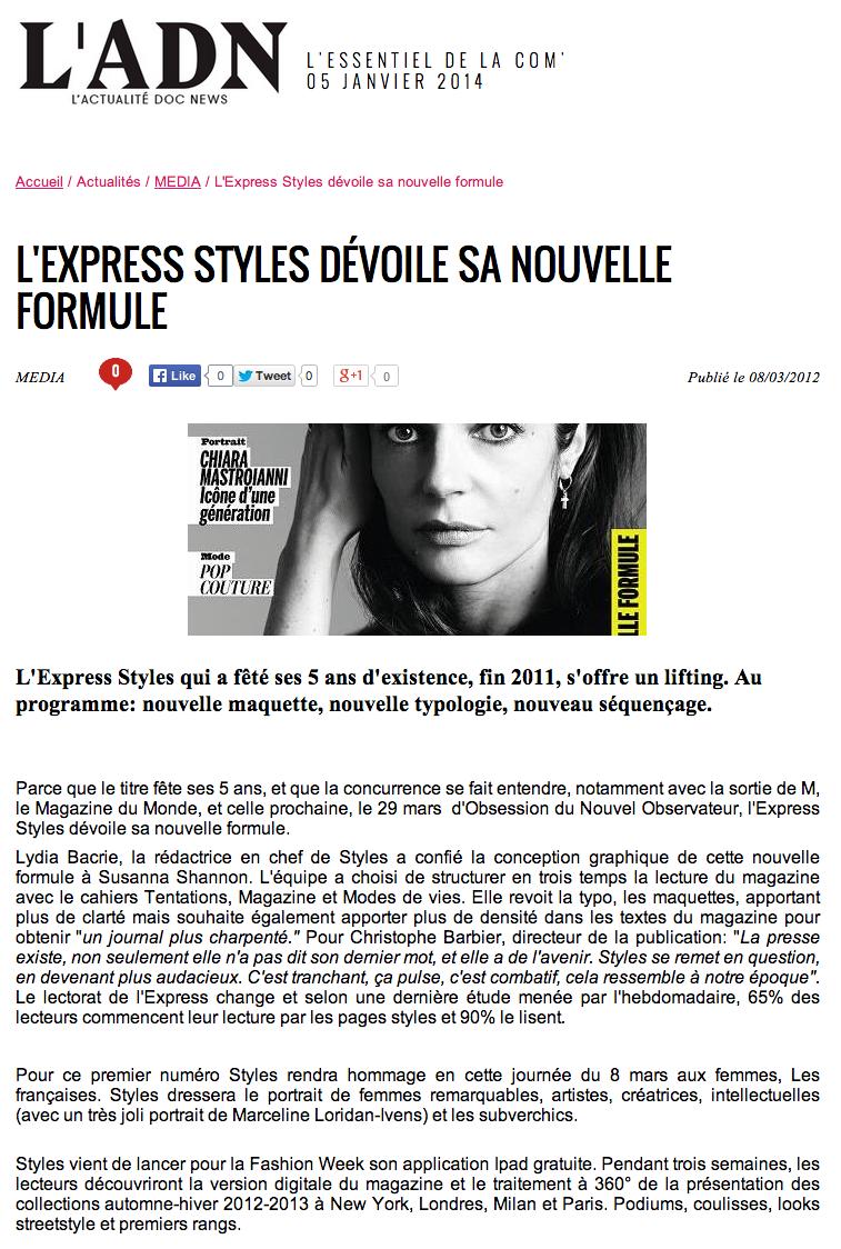 shannon : redesign : nouvelle formule : lexpress styles : février 2012